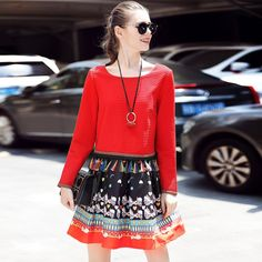 L- 5XL Fringe Detail Printed Pleated Short Dress Fall Long Sleeve O neck Mini Red Like and share if you think it`s fantastic! www.artifashion.n... #shop #beauty #Woman's fashion #Products