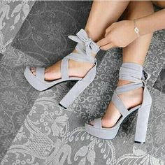 Shared by Maria. Find images and videos about fashion, shoes and heels on We Heart It - the app to get lost in what you love. Heeled Boots, Shoe Boots, Shoes Heels, Pumps, Grey Heels, Lilac Heels, Grey Sandals, Lace Up Heels, Strappy Sandals
