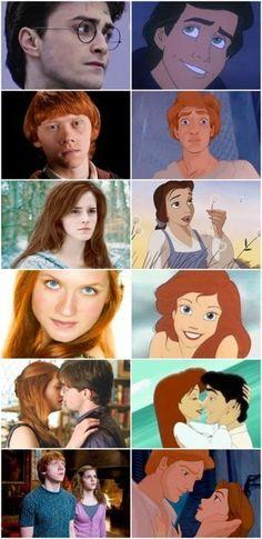 """Les personnages des films Harry Potter ressemblent étrangement aux personnages Disney des films """"La Belle Et La Bête"""" et """"La Petite Sirène"""" !"""