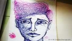 Drawing a Face Creatively Using Blue Ink Pens Face Structure Drawing, Human Face Drawing, Cool Easy Drawings, Drawing Techniques, Pens, Cool Stuff, Create, Artist, Blue