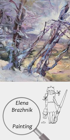 "Elena Brazhnik   Painting   Printable   Design   Interior   Instant Download   ""Winter Light"" (fragment)   Oil on Canvas Landscape Trees Winter Snow Purple Blue White Digital Image for Print   №LP-002"