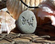 A Butterfly on Marthas Vineyard Beach Stone Pendant