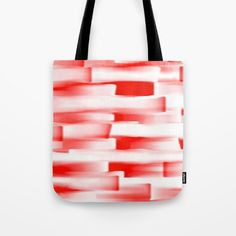 Red and White Abstract Art Tote Bag by Saribelle Inspirational Art | Society6