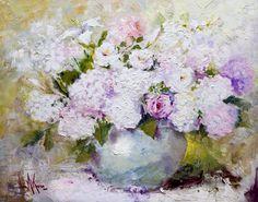 "Oil painting ""White & Pink Bouquet 24""x30"" by artist Nora Kasten"