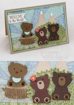 baby bear family card with paper pieced sunburst background, using Foxy Friends / Fox builder punch bundle. By Di Barnes #colourmehappy 2016 annual catalogue