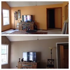 Living Room Makeover From Warm To Cool New Color Is Valspar Lyndhurst Timber
