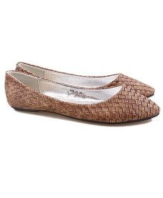 Brown  Woven Flat Shoes