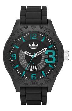 adidas Originals 'Newburgh' Silicone Strap Watch, 48mm