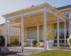 Superb Higher Soft Wood Lattice Patio Cover With Pillars Minimalist Patio  Furniture Some White Concrete Planter Pots