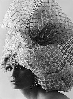 "1966. Model Gloria Friedrich ""Silver Turban"". Photo by Charlotte March (B1929)"