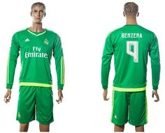 c54e0bc1b Real Madrid  9 Benzema Green Goalkeeper Long Sleeves Soccer Club Jersey  Football Jerseys
