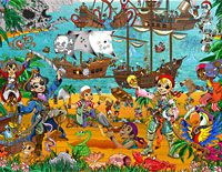 Pirates and treasure adventure wall mural from Resene ColorShops. Childrens Wall Murals, Kids Wall Murals, Wall Murals Bedroom, Pirate Treasure, Boy Room, Kids Bedroom, Playroom, Wallpaper, Pirates