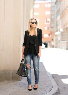 RIPPED JEANS & BLACK : P.S. I love fashion by Linda Juhola
