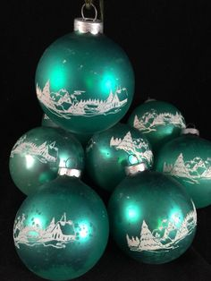Vintage Mercury Glass Christmas Ornaments Green Stencil Winter Scene 8