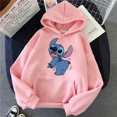 Lilo Stitch Hoodie Pullovers Long Sleeves Pullovers Lovely Kawaii Casual Tops O Neck Women's Hooded Sweatshirt Cute Disney Outfits, Cute Lazy Outfits, Teenage Outfits, Teen Fashion Outfits, Grunge Outfits, Cool Outfits, Punk Fashion, Lolita Fashion, Grunge Dress