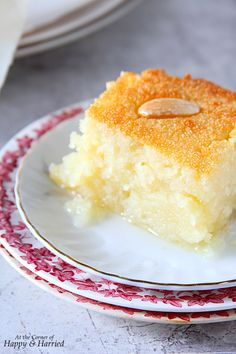 Basbousa {Semolina Cake With Lemon-Rose Syrup}