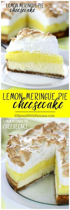 Lemon Meringue Pie Cheesecake Recipe via Spend With Pennies - A graham cracker crust, fresh tart lemon filling & a fluffy meringue topping combined with a rich cheesecake! This dessert will definitely top your list! The BEST Easy Lemon Desserts and Treats Recipes - Perfect For Easter, Mother's Day Brunch, Bridal or Baby Showers and Pretty Spring and Summer Holiday Party Refreshments!