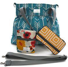Diaper Bag Gift Set - Turquoise Arrow Diaper Bag - Travel Pad - Wipes Case - Messenger Strap