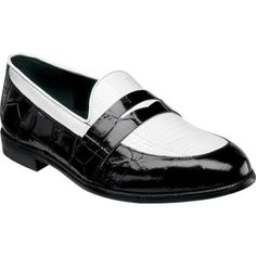 $89, Black and White Leather Loafers: Stacy Adams Serafino 24725 Blackwhite Leather Penny Loafers. Sold by Shoebuy. Click for more info: http://lookastic.com/men/shop_items/86692/redirect