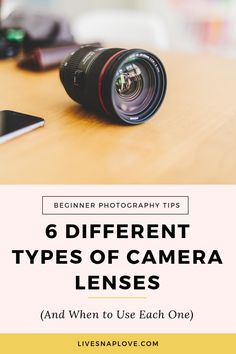 6 Different Types of Camera Lenses (and when to use each one) — LIVE SNAP LOVE Learn which different types of camera lenses you can get, and when you should use each one in this camera lens guide Dslr Photography Tips, Photography Tips For Beginners, Photography Lessons, Photography Equipment, Photography Tutorials, Digital Photography, Travel Photography, Portrait Photography, Umbrella Photography