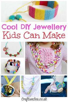Cool DIY jewellery kids can make including necklaces and bracelets. Fun crafts for kids that look super pretty too!