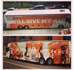 Tennessee Volunteers bus; I passed this yesterday. The team was getting a police escort on their way to the airport. They play the Gators today. GBO!