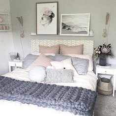 A beautiful room filled with pastels by @cleverpoppy shop our range of cushions to decorate your living or bedroom I've always wanted a shelf above my bed to showcase some prints but I'm so scared it will fall on my head when I sleep