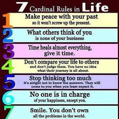 7 Cardinal Rules in Life.  #holisticheights #HealthyisaLifestyle  www.holisticheights.com