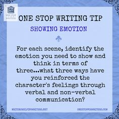 Show your characters' emotions by what they says, their tone of voice, their body language, and their subsequent actions. And don't forget to reflect it in others' responses to those emotions. www.junetrop.com