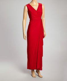 Look at this #zulilyfind! Red Side-Ruched Maxi Dress - Women #zulilyfinds