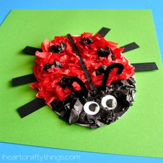 Tissue Paper Ladybug Kids Craft (with free pattern printable) | I Heart Crafty Things