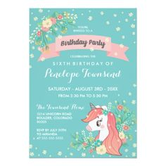 #pretty - #Floral Unicorn Turquoise Birthday Party Card