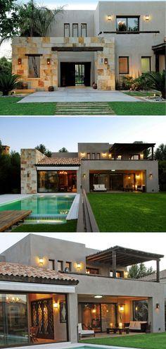 House Outside Design, House Front Design, Modern House Design, Modern Mediterranean Homes, Modern Bungalow House, House Construction Plan, Village House Design, Luxury Homes Dream Houses, Dream House Exterior