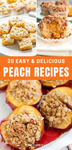 It's peach season! So I made a collection of peach recipes that include drinks, desserts, and more to help you celebrate this sweet summer fruit. #peach #peachrecipes #peachdessert Types Of Desserts, Sweet Desserts, Healthy Desserts, Easy Desserts, Candy Recipes, Sweet Recipes, Dessert Recipes, Healthy Breakfast Snacks, Food For A Crowd