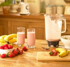Daniel Fast: Strawberry Banana Smoothie  1 cup of Soy Milk 1 1/2 Banana 1 cup of strawberries 1/2 cup of fresh squeezed orange juice Preparation: Simply combine all ingredients in your blender and blend until its smooth. Have fun with it, add all natural granola and different types of fruit like mango, pineapples, kiwi's and more.