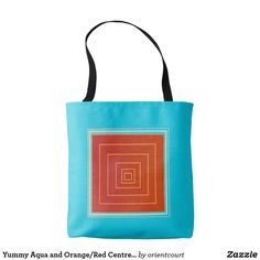 Yummy Aqua and Orange/Red Centre >Trendy Tote Bags Red Centre, Edge Design, Orange Red, Evening Bags, Aqua, Reusable Tote Bags, Classic, Derby, Water