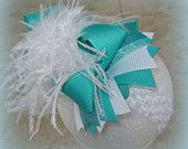Calypso Teal and White Over the Top Ostrich Feather Hair Bow Boutique Pageant Party Hairbow Large Feathers Matching Headband Included