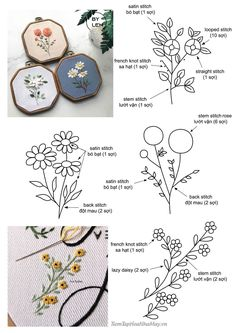 Hand Embroidery Patterns Flowers, Embroidery Stitches Tutorial, Embroidery Flowers Pattern, Embroidery Hoop Art, Hand Embroidery Designs, Creative Embroidery, Simple Embroidery, Creations, Couture