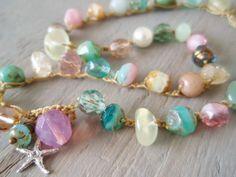 Beach boho crochet necklace 'Bohemian BeachComber', semi precious stone, glass, silver starfish, surfer beach chic, pastel, OOAK. $67.00, via Etsy.