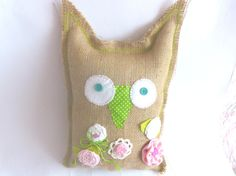 Owl Cushion Jute Jute Owl Pillow Owl Decor by CrossStitchElizabeth