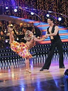 Shawn Johnson and Mark Ballas dancing salsa, season 8, Dancing With the Stars.