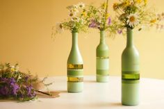 Looks great & probably cost pennies to do. Upcycle Old Wine Bottles - Pretty Frugal Living