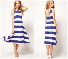 ASOS Midi Dress In Stripe With Scoop Back, $53.02. So cute... as long as not too tight and not too thin of knit!