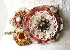 Bridal Wedding Sash Corsage, Fabric Flower Pin, Wedding Dress Flower Pin, Coral, Green Sash. $96.00, via Etsy.