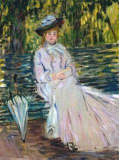 Femme assise sur un banc (C Monet - W 343),1874.
