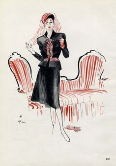 Elsa Schiaparelli by René Gruau (…don't you just love this?!).