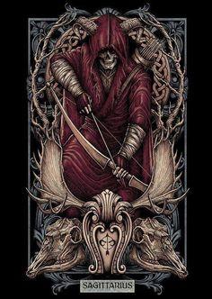 """Skull & Gothic Art """"Sagittarius"""" ♐"""
