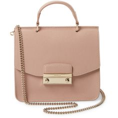 Furla Women's Julia Mini Top Handle Satchel - Pink ($189) ❤ liked on Polyvore featuring bags, handbags, pink, genuine leather handbags, pink leather purse, leather handbags, furla handbags and mini purse