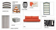 Fresh & Fun Playroom - orange striped teepee, West Elm pouf, panelled bookcase, Layla Grayce Olio pendant, Posh Tots taboret side table.