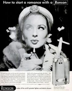 Suzy Parker for Ronson lighters, 1950s.  Suzy's sense of humor often came through in her shots, and this is one of the best examples.